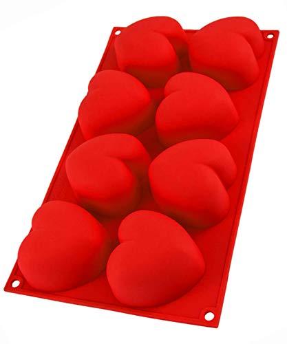 Silikonform mit Herzen für Muffins, 8 Herzchen, Backform, Muffinform Herz, Herzbackform, Eiswürfel, 29,5 x 17 x 4cm, Kuchen, Muffincups, Schokolade, Seife, Farbe: Rot