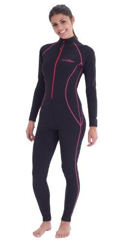 EcoStinger Damen Ganzkörper-Badeanzug, UV-Schutz, LSF 50+, chlorbeständig, Schwarz / Pink - Schwarz - Small