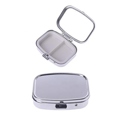 JIAY 5.6x4.2cm rectangular forma de acero inoxidable Mini pastillero caso sólido de color plata medicina organizador titular tabletas cápsula caja dispensador