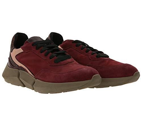 Heine Sneaker Coole Damen Turnschuhe mit glitzernder Ferse Schuhe Freizeitschuhe Halbschuhe Rot, Größe:38