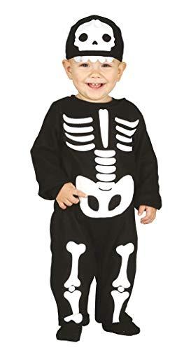 Guirca - Disfraz de esqueleto para niño 12/24 meses, color negro y blanco, 2 años, 87011