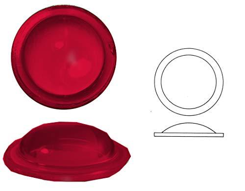 Plomo verglasung Piedra Ojo de Buey Lisa de Cristal, 1Unidades, Redondo, Bordes geschert, diámetro 70mm Aprox, H 12mm, Transparent Dunkelrot