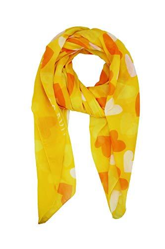 Agatha Ruiz de la Prada Pañuelos Fular Foulard Mujer Bufandas Estampado Diseño de corazones 180 x 90cm Incluye llavero de regalo (Amarillo con naranja)