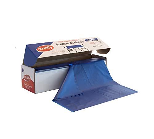 Neatiffy 137.2 cm x 32.9 m Rollo De Mantel De Plástico Desechable Con Cortador, Fiesta / Picnic / Banquetes Cubierta De Mesa Para Rectángulo, Ovalado, Mesas Redondas,(Azul)