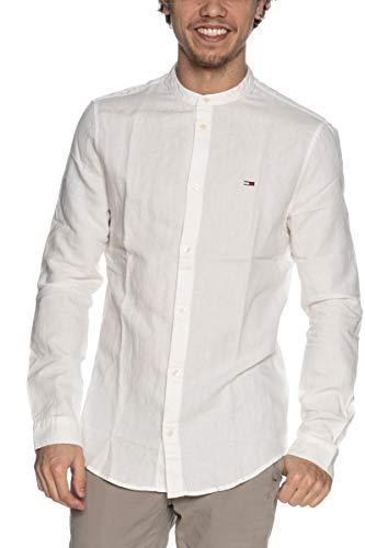 Tommy Jeans TJM Mao Linen Blend Shirt Camiseta, blanco, M para Hombre