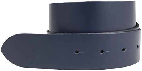 Wechselgürtel aus 100% echtem Leder ohne Schnalle 4,0 cm | Druckknopf-Gürtel für Damen Herren 40mm | Spaltleder-Gürtel 4cm | Marine 85cm