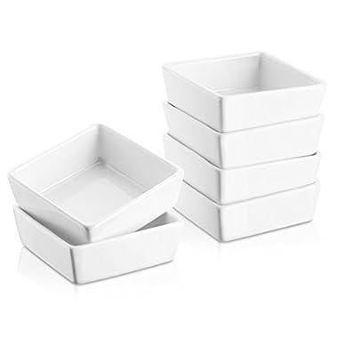 DOWAN 6oz Porcelain Ramekins - 6 Packs, White