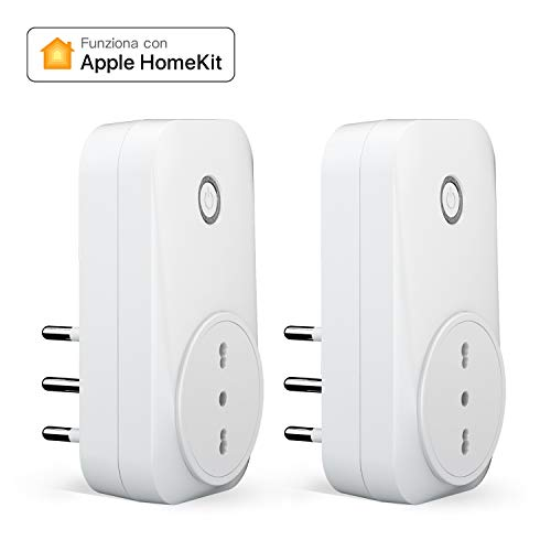 meross Presa Intelligente Italiana Smart Plug, Spina WiFi, Compatibile con HomeKit Siri, Alexa, Google Assistant e SmartThings, Nessun Hub Richiesto, 16A, 2,4GHz, 2 Pezzi