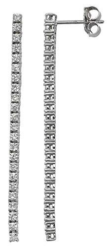 Original 18ct Oro Blanco Diamante Pendientes Nuevo