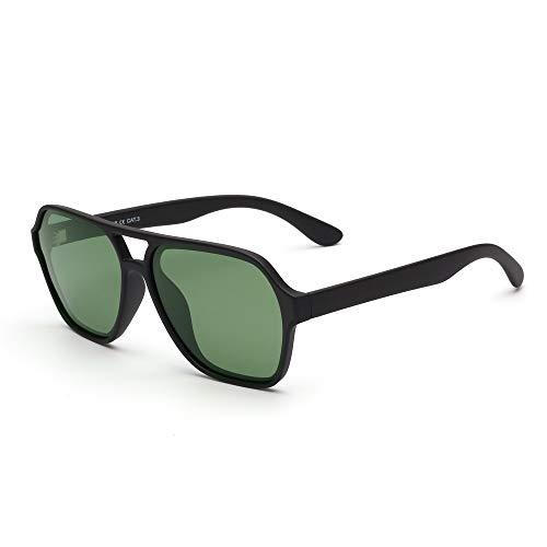 GLINDAR Occhiali da sole Polarizzati da Pilota Uomo Donna Occhiali da Guida Quadrati Vintage con Doppio Ponte(Montatura nera opaca/Lente verde polarizzata)