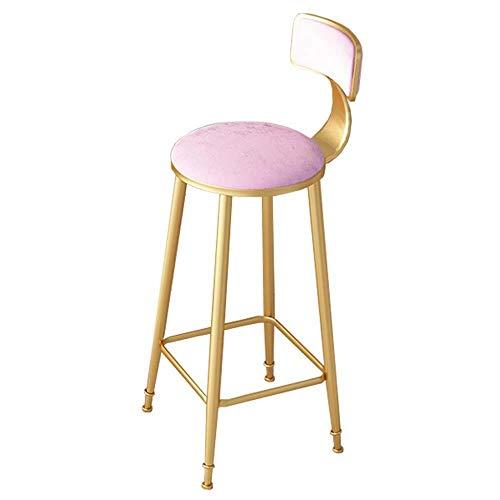 NYDZ barkruk met zachte velvet zitting, bar stoel, moderne stijl metalen barkruk Pub stoelen - roze