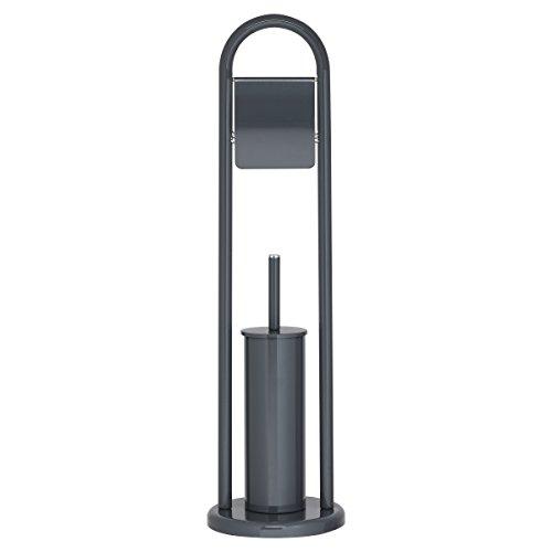 Sealskin Acero Toilettenpapierhalter + Toilettenbürste, WC-Garnitur aus Edelstahl, Farbe: Grau
