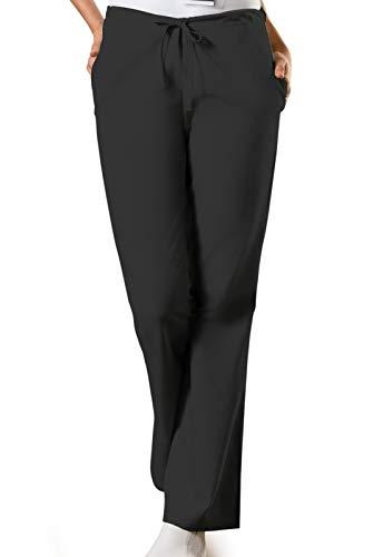 Cherokee Women's Flare Leg Drawstring Scrub Pant, Black, X-Large Petite