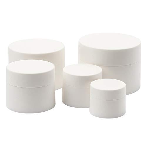 Sinolofty 5 Stück Salbendöschen, Selbstabfüller Cremedosen, leer Döschen, matt Weiß, Salbenkruke flach - 5ml/10ml/15ml/30ml/50ml