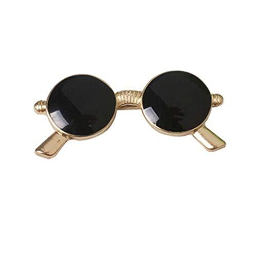 TOSLEJF Gafas de sol de la vendimia broche Negro - Round Gafas Ropa Decoración