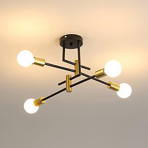 DAXGD Lámpara de techo vintage, plafones industriales E27 diámetro 70cm para dormitorio, cocina, pasillo, lámpara LED moderna 4 luces