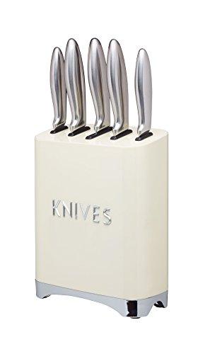 LOVELLO Retro 5-Piece Stainless Steel Set and Knife Block – Vanilla Cream, 19 x 10 x 24.5 cm, 5