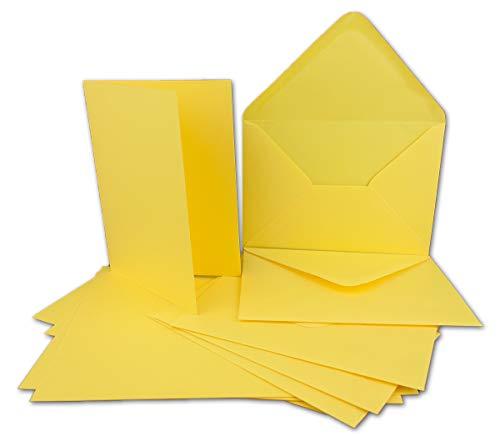 50 Kartenset mit Umschlägen Gelb - DIN A6 Faltkarten 14,8 x 21 cm (160 g/m²) - DIN C6 Briefumschläge 11,4 x 16,2 cm (100 g/m²) Nassklebung - Colours-4-you