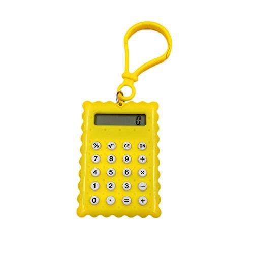 Ogquaton - Mini calculadora electrónica portátil en Forma de Galleta, 8 dígitos, función estándar, Mini calculadora para Estudiantes, Suministros de Oficina, Color Amarillo, portátil y útil