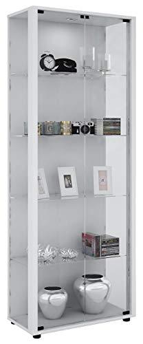VCM Vitrine Sammelvitrine Standvitrine Glasvitrine Glas Schrank Regal Schaukasten weiß 176 x 67 x 33 cm Verona