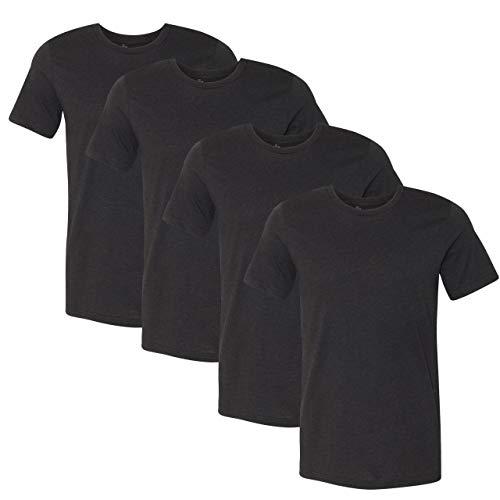 Gurupia Mens Crew Neck T Shirts for Men Short Sleeve - (Black Heather - Medium) Pack of 4