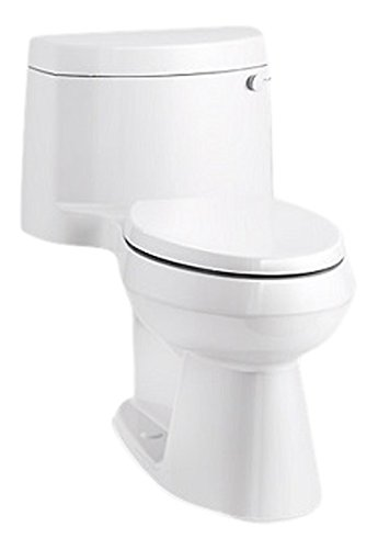 KOHLER K-3619-RA-0 Cimarron Comfort Height One-Piece Elongated 1.28 GPF Toilet with AquaPiston Flush Technology, Concealed Trapway, and Right-Hand Trip Lever, White