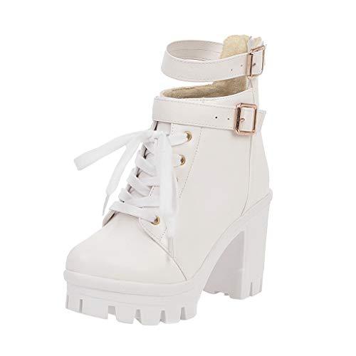 Damen Schuhe Freizeitschuhe Mode Winterstiefel Sweet Round Toe Schnürstiefel Platform Square Ankle Bare Boots (Weiß, 35.5 EU)