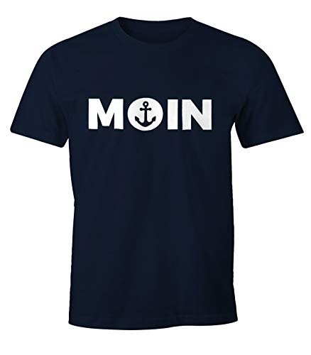 MoonWorks Cooles Herren T-Shirt Moin mit Anker Shirt Navy XL