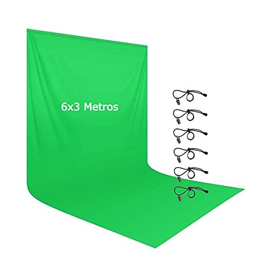Fondo Fotografico Vídeo Croma Verde 6x3M Telón de Fondo Muselina Pantalla de Fondo Grande Green Screen para Estudio Fotografía Películas Televisión Juego