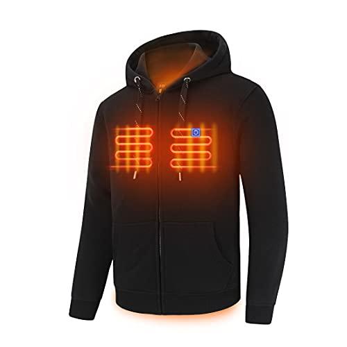 Full Zip Fleece Jacket Hooded Sweatshirt Heated Hoodies with Battry Pack, Black Large (Unisex)