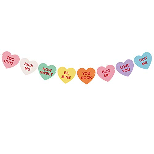 TUPARKA Valentine Conversation Candy Hearts Banner Valentine Heart Hearts Sayings Garland for Valentine's Day Decoration Party Supplies, Pre-Strung