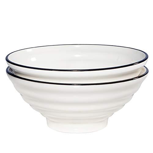 AQUIVER 50 Ounces Ceramic Ramen Bowls – Porcelain White Japanese Style Soup Bowls with Black Edged – Large Salad Bowl Set for Pho, Udon, Soba, Soup, Noodle, Asian Dishes – Set of 2