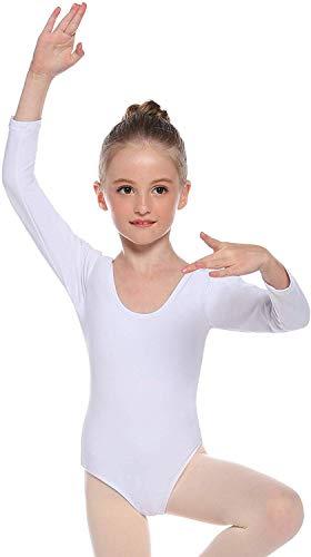 Cisne 2013, S.L. Maillot de Danza Ballet Gimnasia Leotardo Body Clásico Elástico para Niña de Manga Larga Cuello Redondo .Blanco.Edad 10.