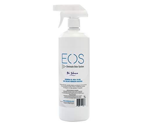 EOS - (1 litro) Elimina olor de tabaco, humo y marihuana de forma instantánea. Producto Antitabaco, antiolores especializado en quitar olores en tejidos. Ambientador antitabaco hogar. Absorbe olor.