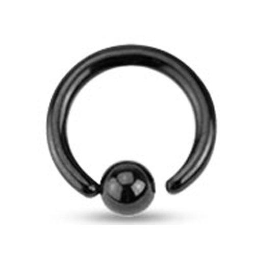 Intieme piercing ringetje zwart 10 mm
