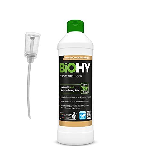 BiOHY Spezial Polsterreiniger (500ml Flasche) + Dosierer | Ideal für Autositze, Sofas, Matratzen etc. | Ebenfalls für Waschsauger geeignet