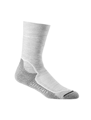 Icebreaker Damen Wandersocken Hike+ Medium Crew Socke, Blizzard HTHR/White/Oil, L