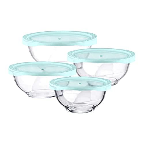 Luvan Ensaladeras Cristal con Tapas, Conjunto 4 Cuencos de Mezcla