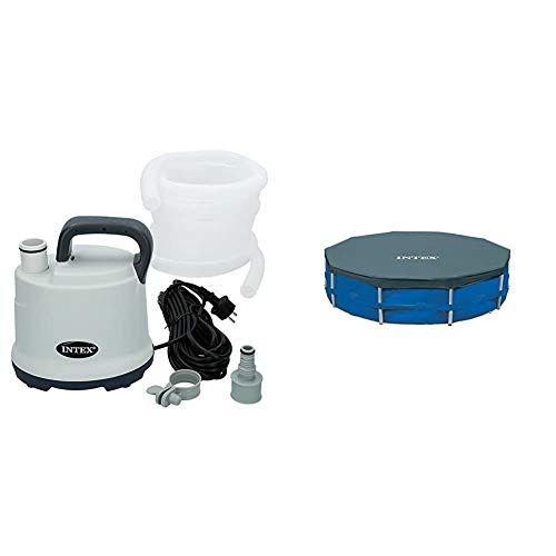 Intex 28606 - Bomba drenaje para piscina con manguera de 5 metros + 28030 - Cobertor piscina metálica Metal & Prisma Frame 305 cm