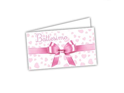GICAPRICE BIGLIETTINI BOMBONIERA Pronti ALL'UTILIZZO PRETAGLIATI Facili da Personalizzare Fai Date (60 Pezzi Battesimo Rosa con Fiocco)