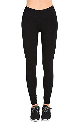 Sofra Women's Juniors High Waisted Cotton Layering Leggings (Medium, Black)