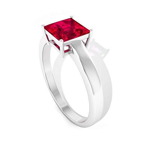 Anillo de oro con cristal de rubí de 1,5 quilates certificado IDCL, anillo de boda con piedras preciosas de corte princesa, 14K Oro blanco, ruby lab creado, Size:EU 68
