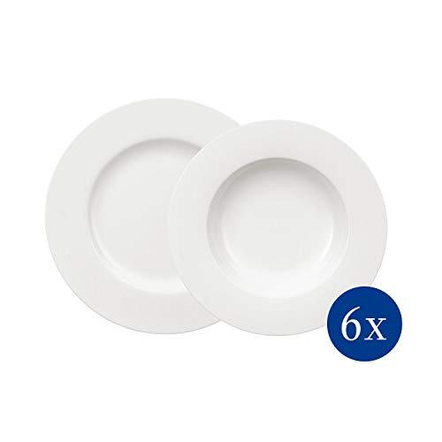 Villeroy & Boch Royal Tafelservice für bis zu 6 Personen, 12-teilig, Premium Bone Porzellan, Weiß