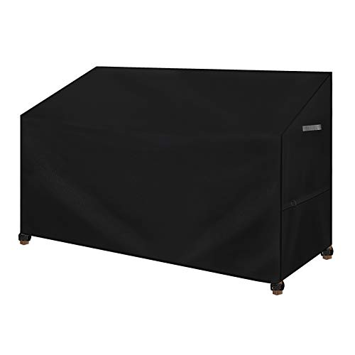 Dokon 2 Seater Garden Bench Cover, Waterproof, Windproof, Anti-UV 420D Oxford Fabric Outdoor Patio Bench Seat Protective Cover with Thickened Handles, 135 x 67 x 65 / 91cm (Black)