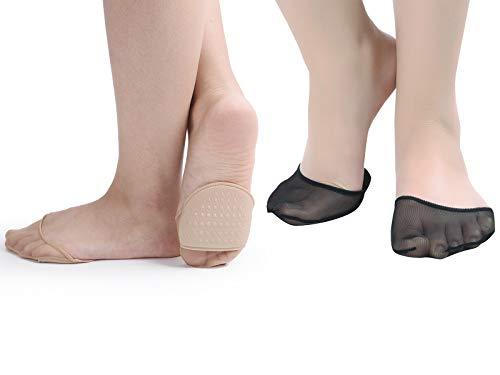 Flammi 6 Pairs Women's Sheer Toe Cover with Padding Toe Topper Liner Socks Non-Skid Bottom (4Beige+2Black, Sheer)