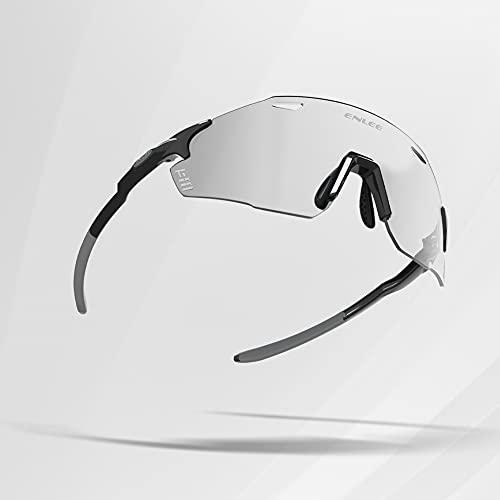 SUFUL Occhiali sportivi MTB, lenti anti-UV che cambiano colore, occhiali da sole da ciclismo unisex, design della guida dell'aria fisica, adatti per corsa/pesca/golf (Black)
