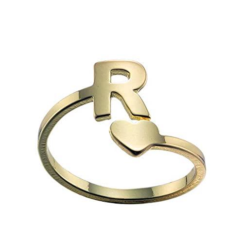 Anillos para las mujeres de acero inoxidable anillo del alfabeto para las niñas apertura anillo ajustable pareja amigos anillos joyería regalos para ella oro r