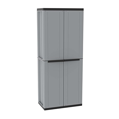 Terry, JLINE 268, 2-door Cabinet with 3 inner sheves. Max load capacity per shelf: 20 kg evenly distributed. Lockable doors. Doors with wood effect. Color: Grey/Black 68 x 37.5 x 163.5 cm