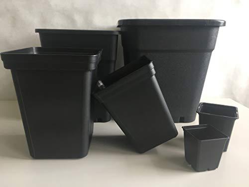 Pflanzentopf schwarz viereckig - Indoor & Outdoor - Anzuchttopf aus hochwertigem PP Kunststoff - Für kleine bis mittel Große Pflanzen (10, 0,25 L / 7 x 7 x 8 cm)