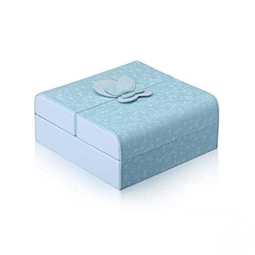 HUYHUJ Big TAMAÑO Organizador DE JOYERÍA DE Pantalla DE Viaje Caja de joyería de Viaje Caja de joyería portátil (Color : Blue)